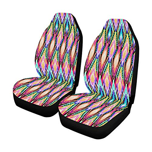 INTERESTPRINT Colorful Ikat Stripes Print Car Seat Cover Front Seats Only Full Set of 2, Bucket Seat Protector Car Seat Cushions for Car, SUV, Truck or Van