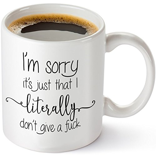 I'm Sorry It's Just That I Literally Don't Give A Fuck – Funny Sarcastic Coffee Mug 11oz – Best Birthday Gag Gifts – Humorous for Coworkers – Don't Care Adult Humor Cup