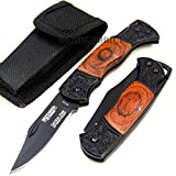 New 5. 25'' Mini Collector's Real Wood Handle Lockback Folding Pocket EcoGift Nice Knife with Sharp Blade w/ Case - Great For Fun And Practical Use
