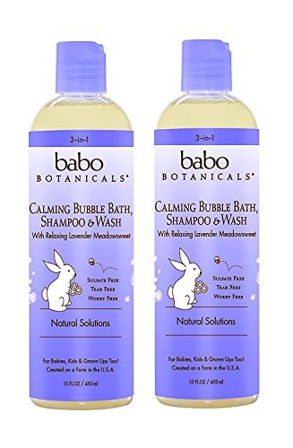 Babo Botanicals Natural Lavender Meadowsweet 3 in 1 Baby Bubble Bath Shampoo Wash - Sulfate Free, 15 Ounce - 2 PACK