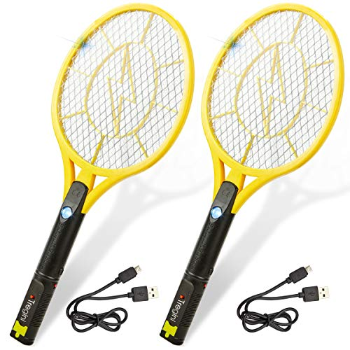 (Tregini Large Electric Fly Swatter 2 Pack - Rechargeable Bug Zapper Tennis Racket with Safe to Touch Mesh Net and Built-in Flashlight - Kills Insects, Gnats, Mosquitoes and Bugs)