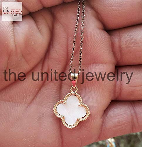 (14k Yellow Gold Handmade Natural Pearl Clover Shape Shell Pendant Charms Jewelry Wholesale)