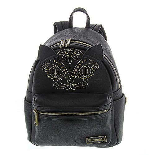 Loungefly Cat Mini Faux Leather Backpack Black Black Embroidered Leather Backpack