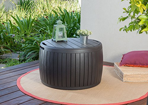 Keter 230897 Circa Natural Wood Style Round Outdoor Storage Table D, 37 Gallons, 26.7 in. Diameter x 16.5 in Height.