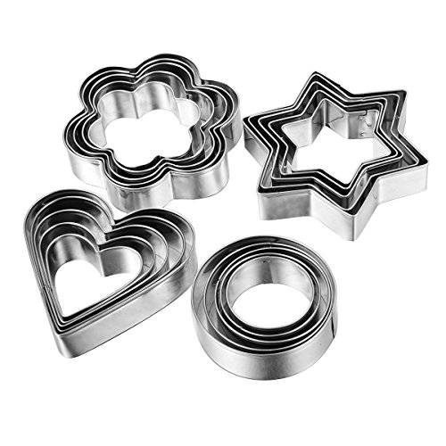Home Value 12pc Metal Cookie Cutters: 3 Stars Shape, 3 Flowers Shape, 3 Round Shape, 3 Hearts Shape Model: (Home & Kitchen) Silver ()