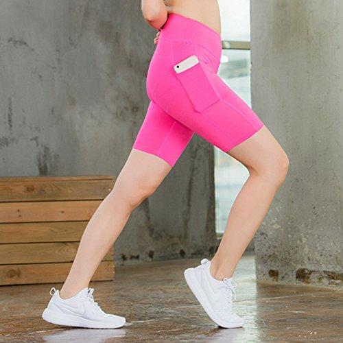 da vita Mxssi a Pantaloncini Active corsa allenamento palestra da da alta yoga da donna Pantaloncini da slim shapewear ciclismo Rosa A4wqx4rY8