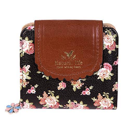 Damara Women PU Zipper Closure Flower Printed Flap Wallet,Black