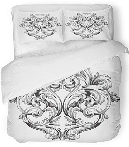 Three Filigree Design Piece - Emvency 3 Piece Duvet Cover Set Breathable Brushed Microfiber Fabric Baroque of Vintage Design Filigree Calligraphy You for Wedding Laser Cutting Bedding Set with 2 Pillow Covers King Size