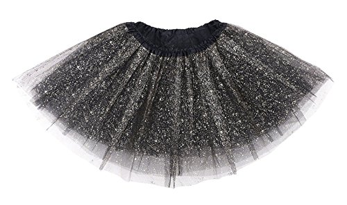 Women's Classic Triple Layered Tulle Tutu Skirt w/ Sparkling Sequin,Black - Tutu Halloween Costumes For Women