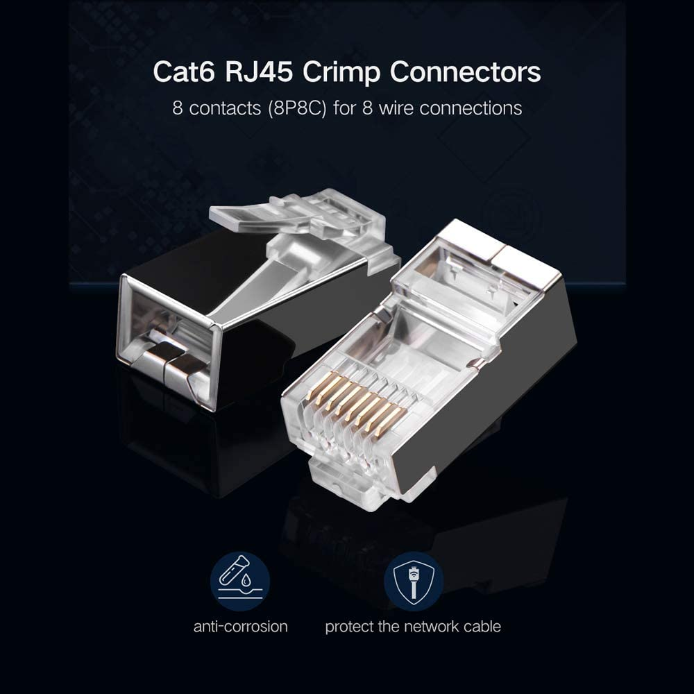 ShineBear RJ45 Cat.6 UTP Field Connector Modular Plug Free of Crimping Design Compatible with Cat.5e//6//6A 23AWG-24AWG Installation Cable Cable Length: 4pcs