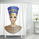Emvency Shower Curtain Africa Egyptian Queen Nefertiti White Ancient Antique Waterproof Polyester Fabric 60 x 72 inches Set with Hooks
