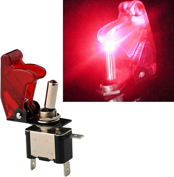 TOPSALE 12V 20A Inverter Rocker Interruttore a Leva On//off LED On-off SPST Coperchio Auto Car-Rossa