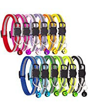 Tondwin Breakaway Cat Collar Nylon Reflective with Bell Adjustable for Small Pet Dog Puppies (12 Pack)