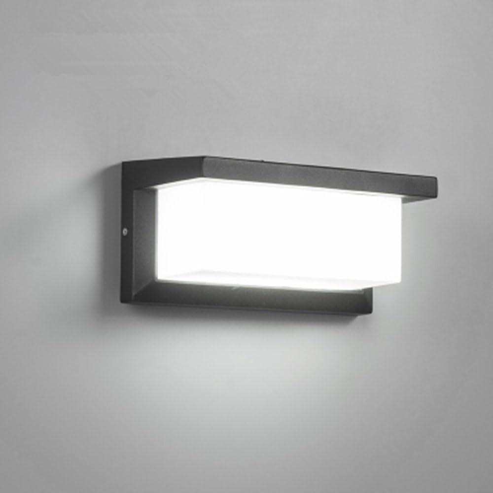 Lightess Apliques de Pared LED 12W Lámpara Exterior Impermeable IP65 Luz de Aluminio Luz Agradable Impermeable Iluminación en Moda para Balcón, Jardín, Porche, Camino, Patio, Blanco Frío