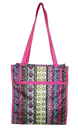 12 in by 13 in Tote Bag w/Mesh Water Bottle Pocket (Boho Pink Trim)
