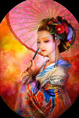 DIY 5D Diamond Painting Kits, Full Drill Crystal Rhinestone Diamond Embroidery Paintings Pictures, Household Arts Craft for Adults - Japanese Geisha ()