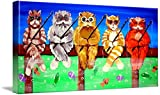 Wall Art Print entitled Fishing Cats by Renie Britenbucher | 48 x 24