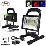 ETOPLIGHTING [2-Pack] 30W Portable LED Emergency Flood Light, Camping Light, Work Light, Emergency SOS Function Flashers and Two USB Port Power Bank, 36 LED Beads, APL1719