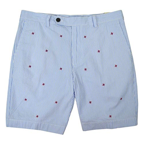 (Brooks Brothers Mens 100% Seersucker Cotton Embroidered Flat Front Chino Shorts Blue White Striped (36W) )
