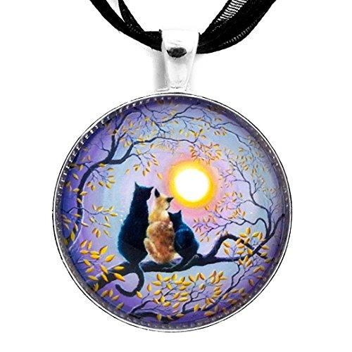 (Laura Milnor Iverson Black Kitten Siamese Cat Necklace Family Zen Cat Pendant Purple Autumn Moon Tree Branch Handmade Jewelry)