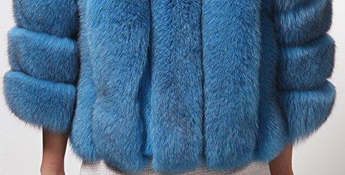 Invierno Elegante Corto Artificial Azul De Chaqueta Piel Y Para Abrigo Mujeres Cálido Encantador Laozan HwTq070