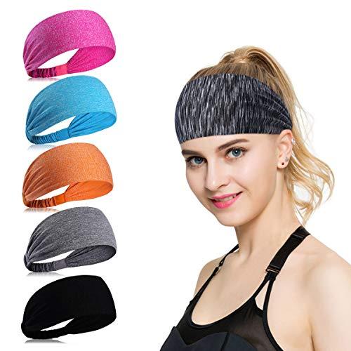 KQueenStar Womens Yoga Sport Athletic Headband Sweatband for Running Sports Travel Fitness Elastic Wicking Non Slip Style Bandana Basketball Headbands Headscarf fits Men (Color 3)
