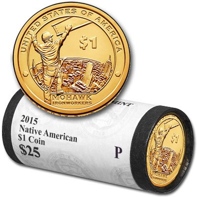 2015 P Native American Sacagawea Original Unopened US Mint Roll Brilliant Uncirculated
