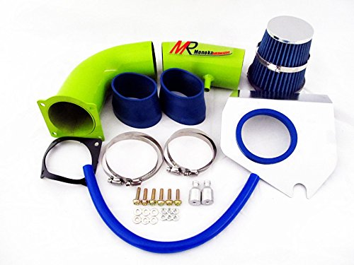 94 95 Ford Mustang 5.0L V8 Green Piping Cold Air Intake System Kit with Blue Filter