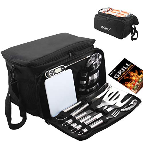 grilljoy BBQ Grill Tools Set with Black Insulated Cooler Bag – All-in-one Barbecue Picnic Cooler Bag – 12pcs Stainless…