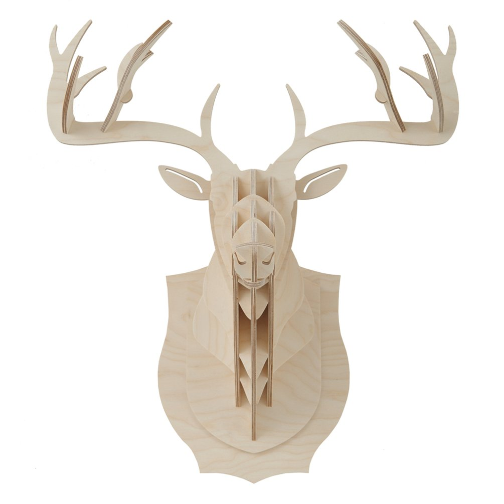 Deer Buck Head Antler 3D Puzzle Jigsaw DIY Birch Wood Christmas Party Rudolph Reindeer Animal Model Home Office Accent Kid Room Wall Hanging Mounted Plaque Decor Toy Kit (Small: 13.8''W x 10.2''D x 15.7''H (35 x 26 x 40cm))