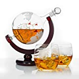 Atterstone Whiskey Decanter Set with Whiskey Stones, Globe Glasses and Stainless Steel Funnel / 850ml Gift Set
