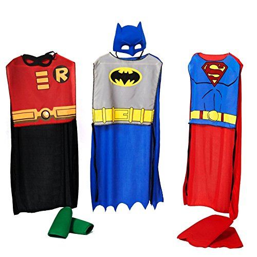 [DC Comics Action Trio Child Costume Kit - One-Size] (Kids Batman And Robin Costumes)