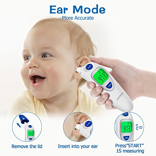 Digital Forehead Thermometer, Zonpor Medical Infrared Baby Thermometer for Fever Kids/Adult with Ear Function Body Basal Thermometers Accurate Reading Medically Proven, FDA and CE Approved by zonpor (Image #4)