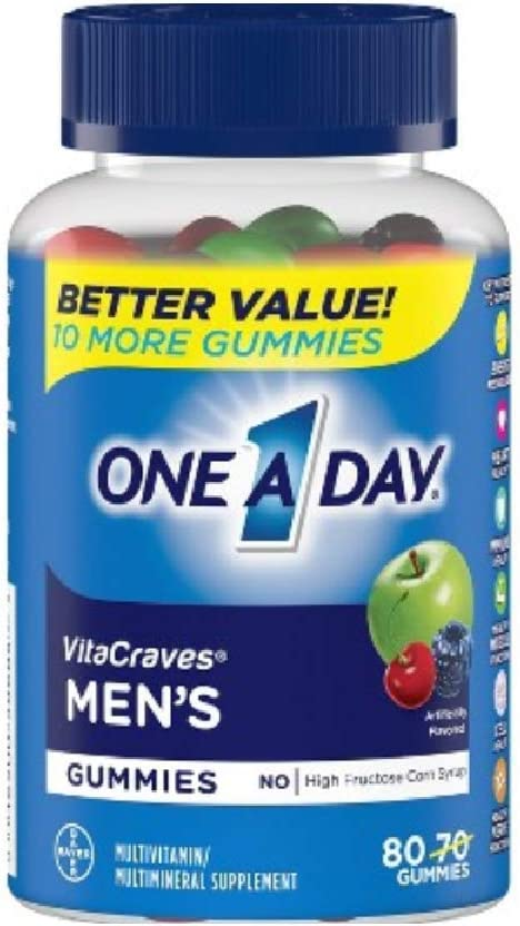 One A Day Mens Vitacraves Multivitamin Gummies, 80 Count