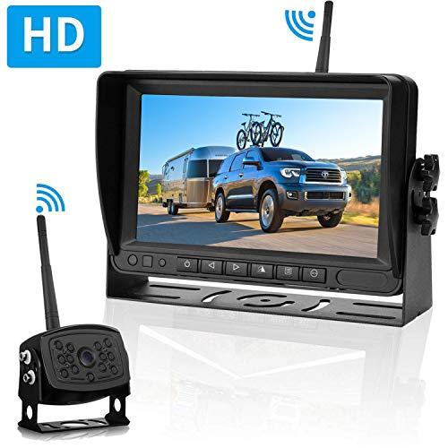 LeeKooLuu HD Digital Wireless Backup Camera 7''Monitor Highway Observation System for RVs,Travel Trailers,Trucks,Motorhome Mirror/Facing Image Flip Newest IP69K Waterproof Camera Super Night ()