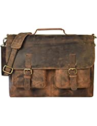 kks 16 Inch Retro Buffalo Hunter Leather Laptop Messenger Bag Office Briefcase College Bag leather bag for men...