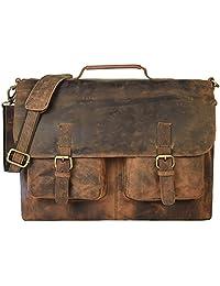 kk's 16 Inch Retro Buffalo Hunter Leather Laptop Messenger Bag Office Briefcase College Bag