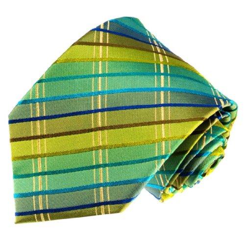 LORENZO CANA - Luxury Italian 100% Silk Tie Gold Green Turquoise Cyan Stripes Woven Necktie - 77106 ()