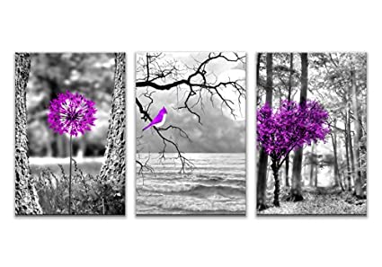 Canvas Wall Art Purple Tree Flowers And Birds Modern Wall Art Black And  White, Landscape