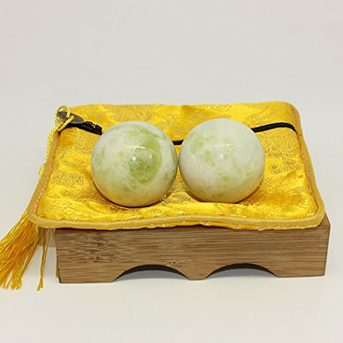 light green jade baoding health stress exercise balls chinese exercise stress balls craft collection (bag-package-s)
