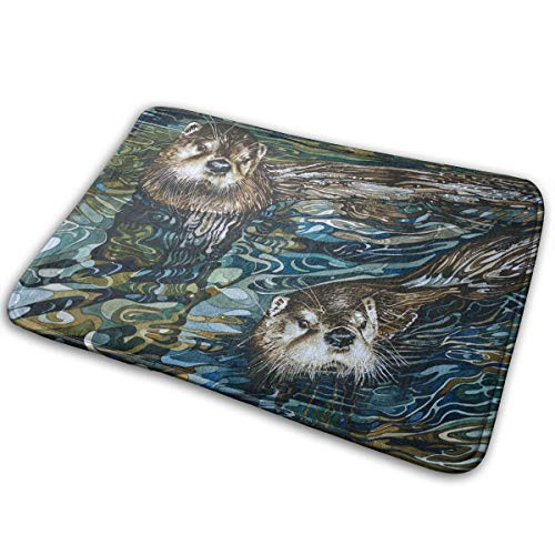 Phyllis Walker Non-Slip Doormats Otter Swimming Entrance Rug Indoor/Outdoor Carpet Absorbs Moisture Washable Dirt Trapper Mats 16x24 Inch
