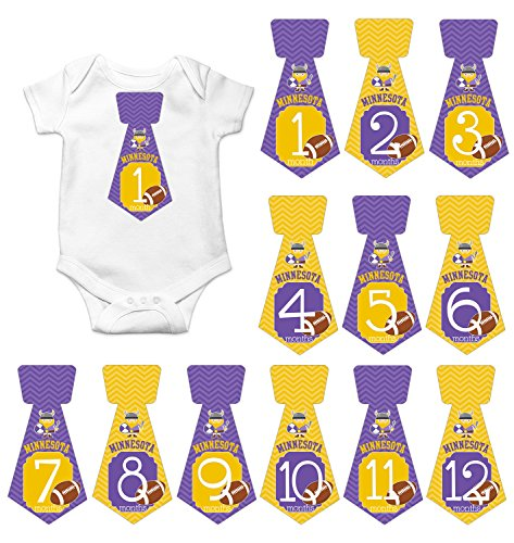 Gift Set of 12 Tie Keepsake Photography Monthly Baby Stickers with Minnesota Vikings Football T069