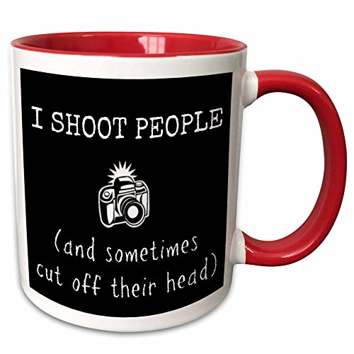 3dRose mug_200603_5 I Shoot People and Sometimes Chop Off Heads Picture of Camera Ceramic, 11oz, Red/White (White 11 Oz People Mug)
