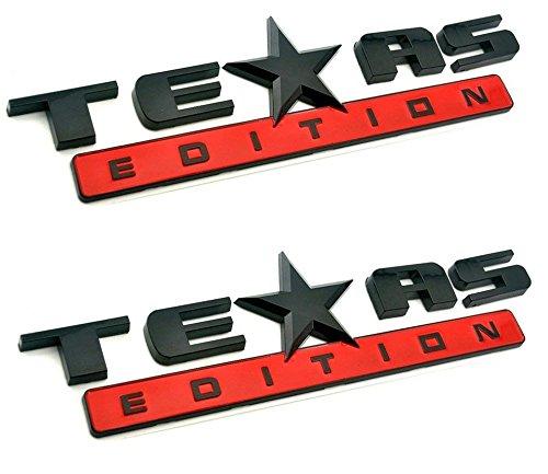 Muzzys (Set of TWO) Texas Edition BLACK and RED 3M Stick On Emblem Badge FITS GMC Sierra Chevy Silverado Suburban Tahoe Ford F150 Dodge Ram Nissan Titan Truck