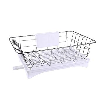 Dish Rack con bandeja y 2 portavasos extraíbles, negro/blanco (Color : Blanco