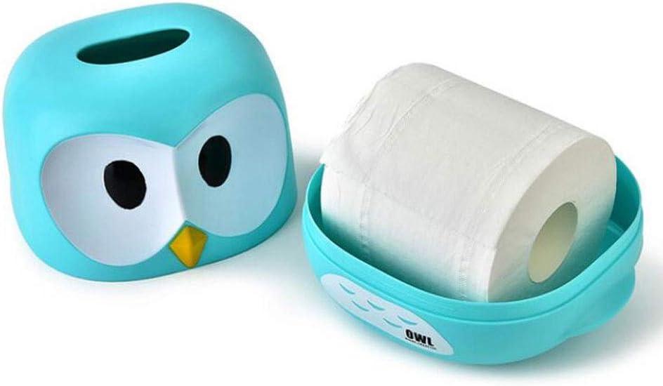 Color : Blue Bedroom Dressers Tables Desks Night Stands Creative Cute Owl Paper Facial Tissue Box Cover Holder Cartoon Plastic Napkin Dispenser for Bathroom Vanity Countertops