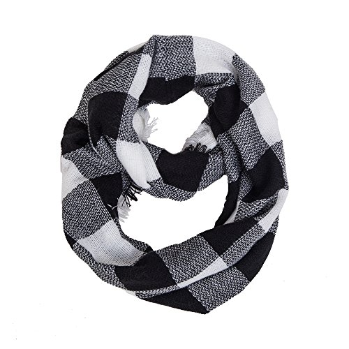 White Black Scarf (Women's Winter Knit Circle Scarves Plaid Infinity Scarf (Knitting Black+White))