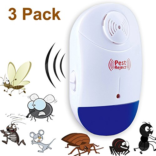 Ultrasonic Pest Repeller Indoor, Electronic Pest Repellent, Pest Reject with Plug in and Night Light for Mice, Cockroaches, Ants, Bed Bugs, Flies, Rats.(3 Pack )