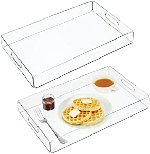 mDesign Modern Acrylic Rectangular Serving Tray with Built-In Handles for Food, Tea, Coffee, Breakfast, Snacks, Cheese, Appetizers - Use in Kitchen, Bathroom, Office - Medium, 2 Pack - Clear