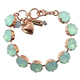 "Mariana Rounded Square Tennis Bracelet, Rose Gold Plated with Green Crystal, 8"" 4326/2 008008"